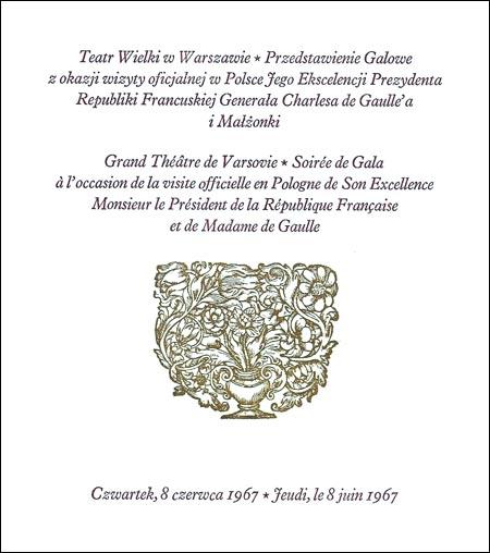 Zaproszenie na przedstawienie Teatru Wielkiego