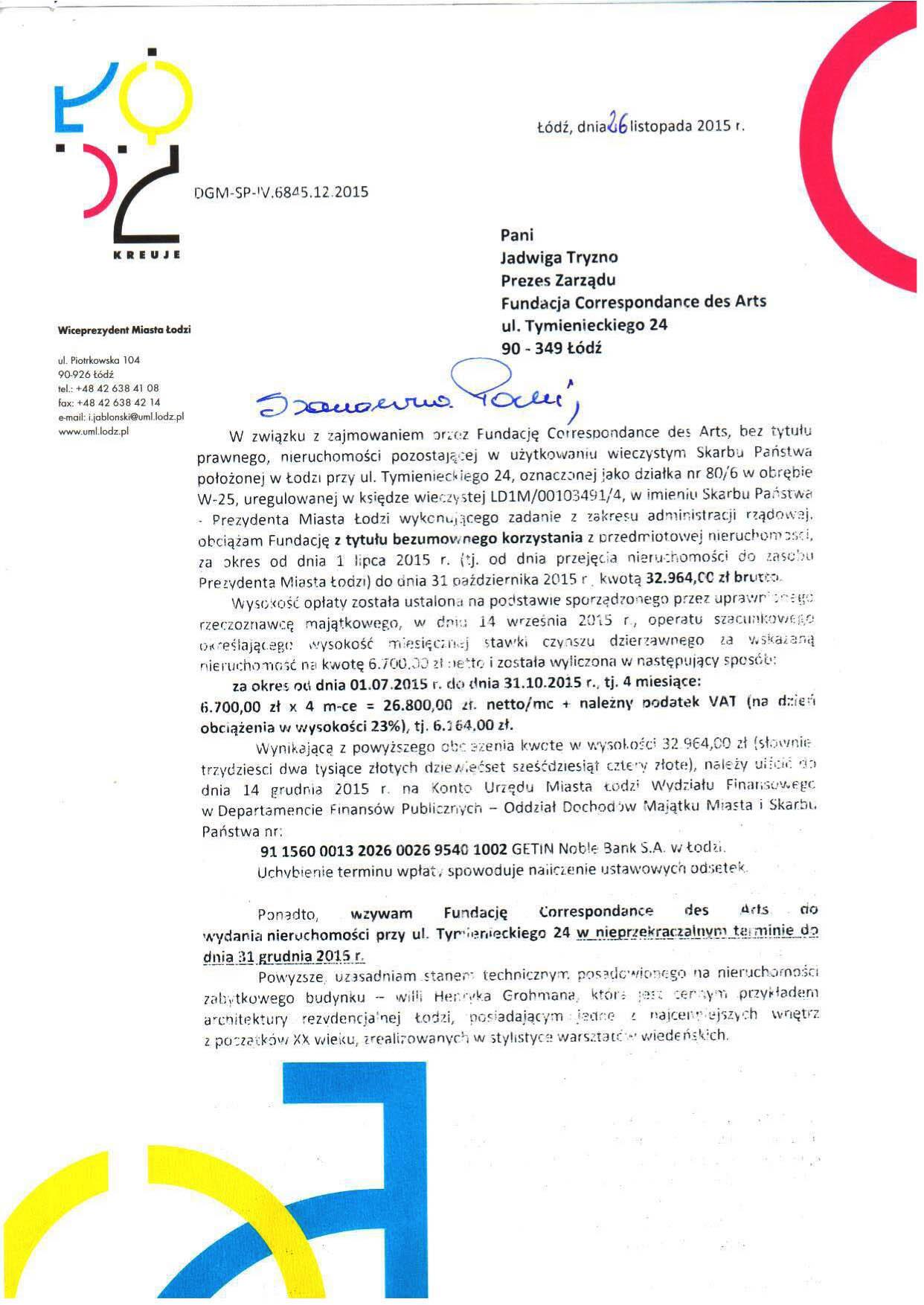 Pismo wiceprezydenta Jabłońskiego, s. 1.