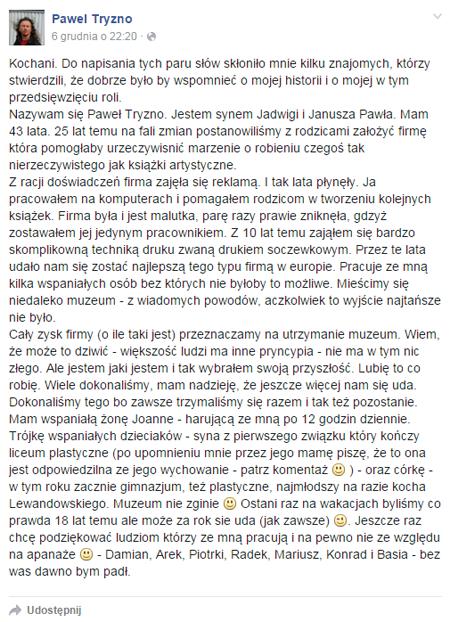 Wypowiedź Pawła Tryzny nt. Muzeum Książki Artystycznej