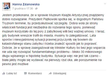 Wypowiedź Prezydent Łodzi Hanny Zdanowskiej